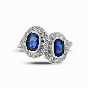 Double Sapphire & Diamond Deco Style Ring 1.07ct